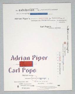 Lettering in black, red, and blue in different typefaces of various sizes. Logos imprinted at lower left and right corners. A red horizontal rectangle at lower left, outlined in blue, other accents in red and blue. Text of announcement is imprinted in lower left quadrant, top and right. At lower left: artists' names printed in red and blue on white ground; text at top and right briefly describes works of these two African-American artists.