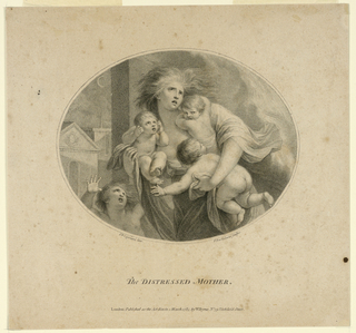 A mother with four children fleeing from flames, which are behind her, to the right. In back, to the left, public buildings and a thin crescent moon.