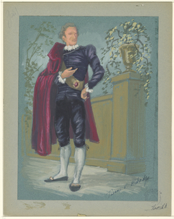 Vertical rectangle. Distinguished, gray haired man in purple breeches, dark red cape, standing in front of a wall with an urn and foliage on top.