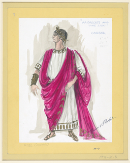Vertical rectangle. Man in white, magenta, and gold Roman attire—a white tunic with magenta clothe draped around his body. He wears sandals on his feet and a laurel wreath on this head.