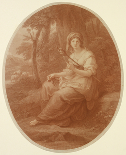A young girl, holding a distaff, is seated under a tree, turned toward left, her head shown full-face, looking toward the spectator, the eyes turned upward. Sheep in distance, left.