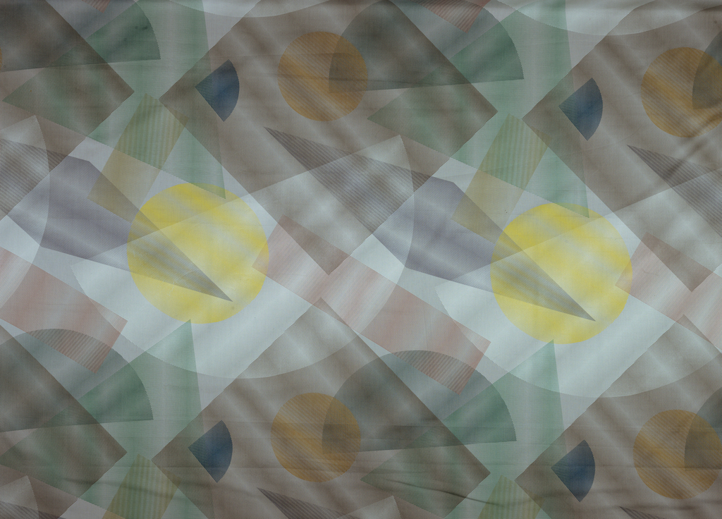 Overlapping transparent circles and triangles in pale colors on grey