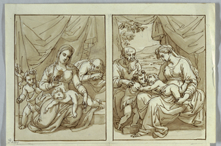 Sheet 66 of a drawing book with four drawings: Holy family and St. John; Holy family and St. John; Madonna and Child; St. Mark and Angel