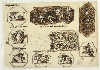 "Left row, above: ""Sacrificio alla Pace"" (all captions are written above octagonal panels): putto blowing double flute; at right, an altar. Center: ""Trionfo delle armi:""  putto with wreath running into chariot with panoply. Below: ""segnifero Romano:"" putto with legionary sign beside trophy. Central row, above: Coriolanus implored by women of Rome, rising from throne at right: ""Coriolano alle mura di Roma."" Center: left half of decoration is roughly sketched. In center is high shaft with bowl, Rinceaux spring from it, putti and boy are between them. Bottom: left octagon with putto blowing horn beside trophy of arms, right octagon with putto bringing wood to altar. Right row, above: hexagon with trophy and rinceaux; right row, below: putto carrying standard beside panoply."