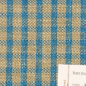 Plain weave checked pattern in blue, beige and white.