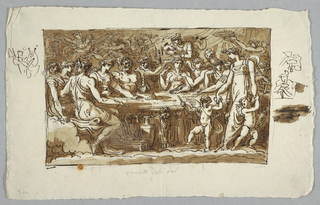 Horizontal rectangle showing gods in classical dress gathered around a table. There are surrounded by servants, dancers and putti. Under the table is pottery.  Sketches around the margins.