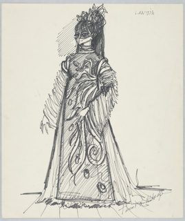 Drawing, Costume Design: Lavinia, for Titus Andronicus, 1967