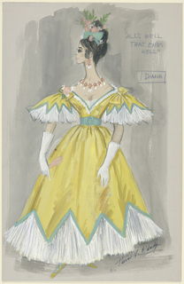 Vertical rectangle. Woman in yellow dress with white pleated flounce and ribbons in hair.
