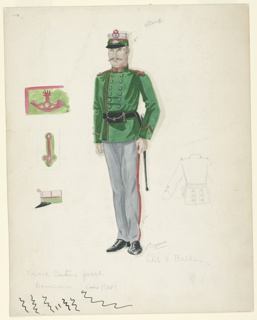 The central figure of a moustached guard stands at alert. He wears a green belted jacket with matching cap, and gray trousers with red stripes up the sides. Three detail sketches of the embroidered elements of the jacket and cap are to the left of the figure, and a graphite sketch of the back of the jacket is to the right of the figure.