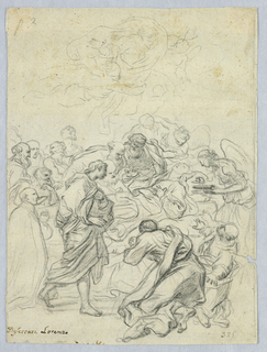 A group of figures surround The Virgin on her deathbed. Christ in heaven above.