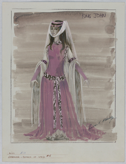 Vertical rectangle. Woman standing against a dark wash wears a pink dress with white flowing headpiece. Her arms are extended and show detail of sleeve drapery.