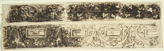 Upper row, left: bearded and foliated masks connected by festoons. At right, horizontal bar surrounded by waved vine branch. Bottom row: row of festoons hanging from disks in center of bow-knots. Above, festoons as tablets with inscriptions. Winged sphinx shown in profile, partly outlined.