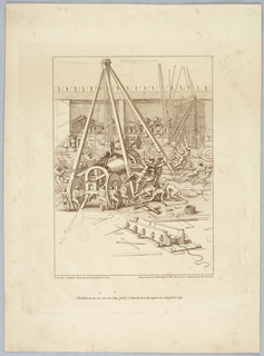Men work in an outdoor studio on a gigantic wheeled contraption supported by a wood and rope sling in the center of the courtyard. At the back are racks for various pipes, and other tools and materials lie scattered about.