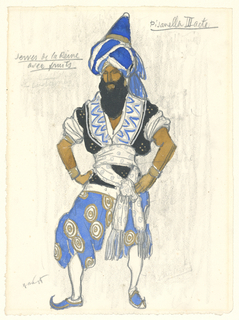 Figure facing left wearing Turkish-style costume with bright blue and white turban, blue trousers with gold circles pattern, and white sash, designed for the servant of the queen in the third act of Pisanella: La Morte Parfumee.