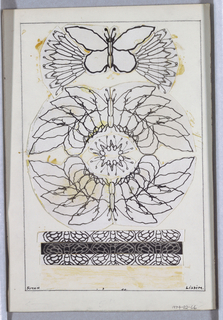 Design of a floral butterfly in circular shape; above a more traditional butterfly.