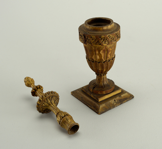 Pair carved wooden mantle vases