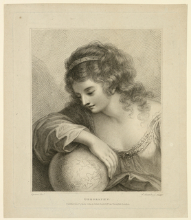 Half-figure of a girl gazing at a globe.