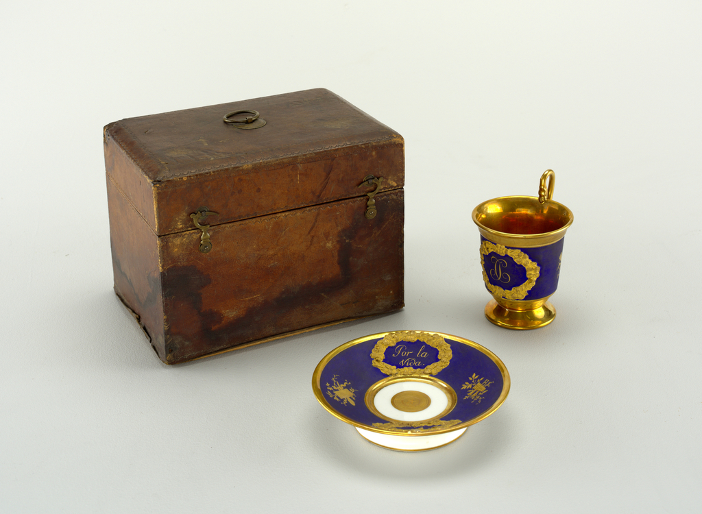 Traveling Case With Cup And Saucer (Spain), ca. 1800