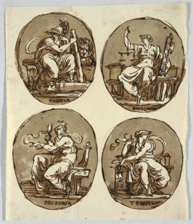 Fortitude: woman with helmet and holding club, sits upon bench. Lion crouches beside her. Justice: shown with pair of scales and fasces, seated. Prudence: shown with looking glass and snake sitting upon chair. Prudence: temperance shown seated holding bridle.