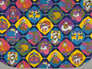 Bedspread with a pattern of eight-sided (laterally and longitudinally symmetrical, but not radically symmetrical) geometric shapes alternating in rows, enclose whimsical signs of the zodiac in vivid yellow, pink, aqua, orange, puple, green, and brown on a background of dark blue.  Zodiac signs are labled in white letters beneath each sign.  Zodiac signs repeated within one maximum repeat which covers entire width of spread and approximately one half of the length.  Repeats are placed directly above each other.