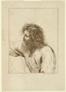 The man faces left, iwth his right arm outstretched. He has a large beard and masses of curly hair.