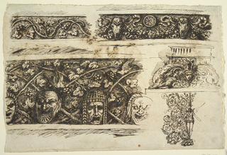 Top row, left: vine rinceau, bucrania support festoons at right. Both friezes framed above and below by moldings. Bottom row, left: theatrical masks stand upon lower framing molding in front of pairs of crossed vine branches. Female head and scrolls situated between dolphins, frieze framed between moldings and plinth below. Winged genius stands betweens rinceaus. Verso: sketches include decoration of square ceiling. At right, tympanum with triumphal chariot. Above, leaves and sketch for genius.