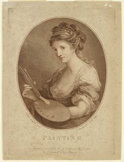 The bust of a woman with a hand in her hair bearing an inscription, and a palette and brushes in her hands.