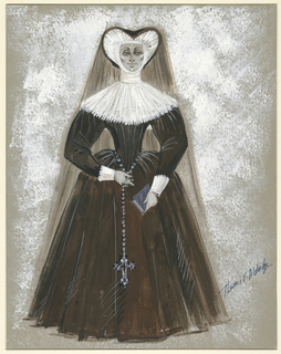Vertical rectangle. A central woman in brown-ish black and white clerical habit holding a book in her left hand and a cross on a chain in her right. Her headpiece is heart-shaped around her face, connected to an elaborate, rough-like neckpiece that extends over her shoulders. The dress has puffy sleeves with a full, floor-length skirt. Feathery patches of white paint fill the background around the figure.
