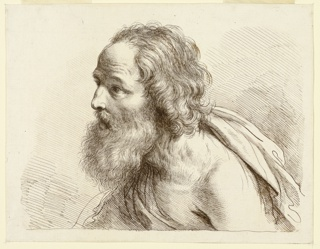 The man's face turned to the left, in profile, his left shoulder bare, a robe around his chest and over his right shoulder.