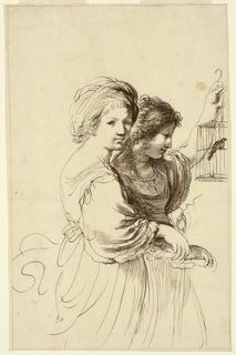 Two young women, the foremost facing frontally, the other regarding a caged bird to the right.