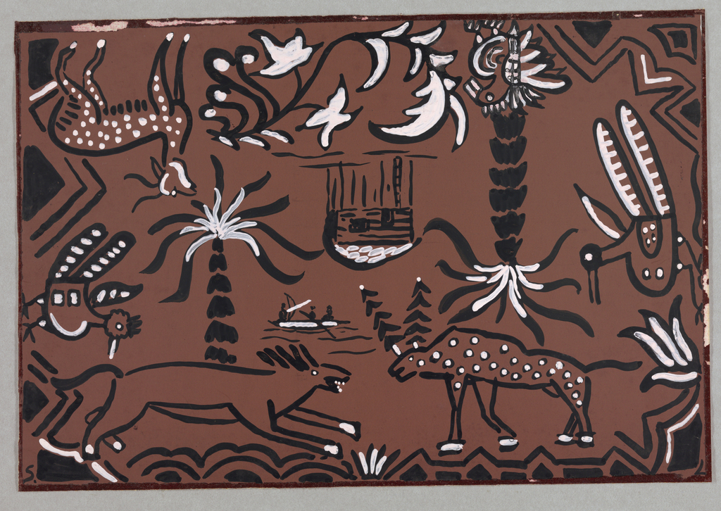 Design of abstract animals (prehistoric style) with trees in black on brown ground.