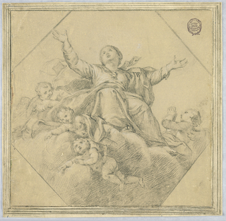 The Madonna raises her arms heavenward. She is seated on clouds with four cherubs surrounding her.