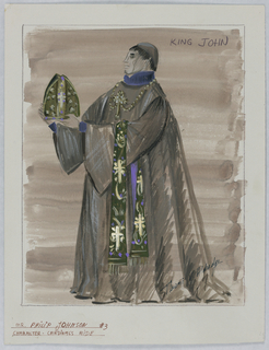 Vertical rectangle. Man in clerical habit holding a miter. He wears a neck piece with a cross and draped over his arm is an elaborated decorated clothe.