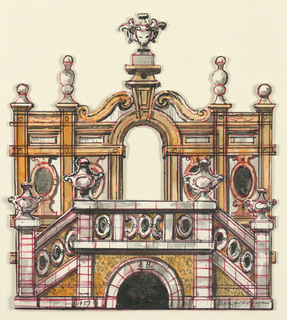 Vertical format. Cut out two-dimensional model in two parts of a garden gateway, surmounted by urns, before which is a terrace serviced by a double staircase, with urns on the balustrade.