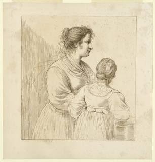 "The woman at left, very large, is in profile, facing right. A much smaller woman, left, ""her back towards the beholder"" is resting her right arm on an urn. Both are bare-headed."