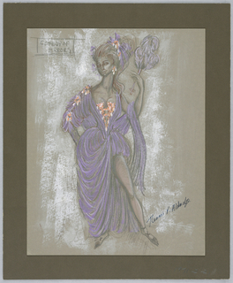 Vertical rectangle. Woman in violet colored dress holding feather fan in left hand.