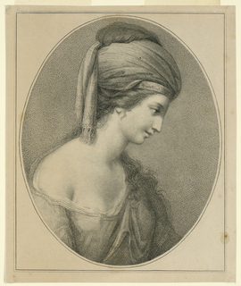 The woman wears a turban-like affair with a fringe at the ends, and supported by a head band. She has long hair.