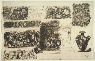 Left row, above: lions stand with scrolls; center, above: hanging circumscribed palmettos alternate with circumscribed female head; center, below: bucrania support festoons, situated above crossed branches upon which birds stand. Women pour water into bowls which they present to crouching winged lions.  Center row, above: crossed vine branches as decorative frieze; below: elevation of sarcophagus, right side outlined. Winged genii lean upon medallion, above festoon and tablet. Hanging trophies of shields and acanthus scrolls, probably column decoration.  Vase with pair of swans as handles, connected by festoons.