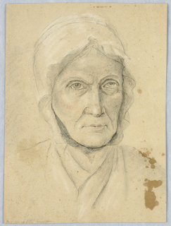 Vertical rectangle with portrait of a woman wearing a cap shown frontally with the beginning of the bust.