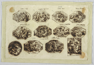 Ten octagons with Vesta, Cibele, Minerva, Bacus, Diana, Endimione, Jove, Giunone, Venus, Neptune, Pluto, Proserpina, Apollo, Daphne, Venus. Tondo with Madonna, infant and St. John; blessed family.