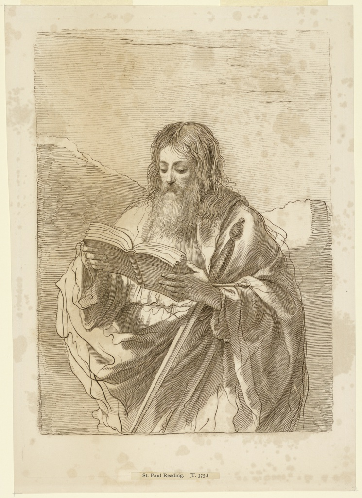 Saint Paul stands with a book in his hands, a sword in his left arm. Rocky ridges or mountains beyond.