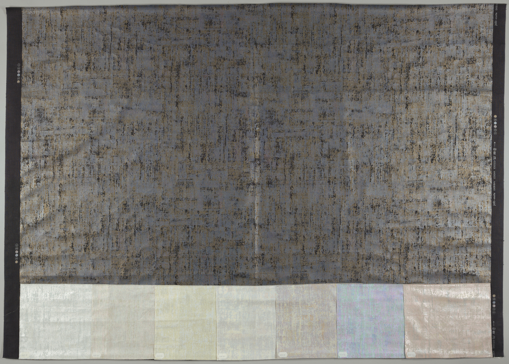 """""""Stone"""" texture printed in metallic pale blue and metallic tan on black. Seven colorways attached."""