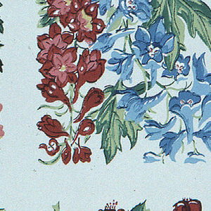 Floral designs, in square format, including pansies, lily of the valley, morning glories, ond others, printed in colors on beige ground.