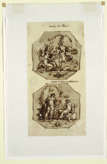 Drawing, Birth of Bacchus; Banquet of Bacchus and Ariadne