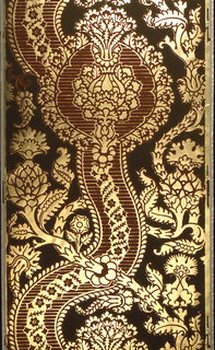 Very large scale serpentine pomegranate design. Brown and gold; field of dark green. Imitates 15th century Italian or Flemish cut velvet.