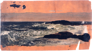 Horizontal image of sea rolling towards the right, where two rocky tongues protrude.  Top and bottom margins showing the dark orange grounding color.