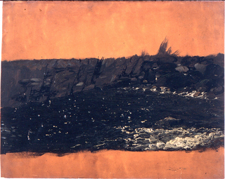 Horizontal image of the sea in the foreground, the rocky coast at the back.  Top and bottom margins show the dark orange ground color.