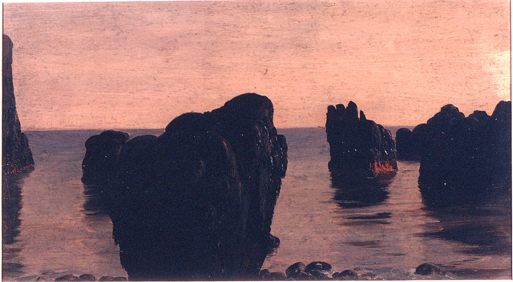 Rock are shown in or bordering the sea. Grayish sky.  Top margin showing the rose ground color.