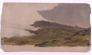 A valley stretches obliquely from the left foreground to the right background.  Some parts of its bank in the foreground are cultivated.  High summits rise in the left middle plane and in the right background.  Bottom margin showing the cream colored ground.