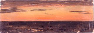 Reddened cloudy sky over dark purple sea.